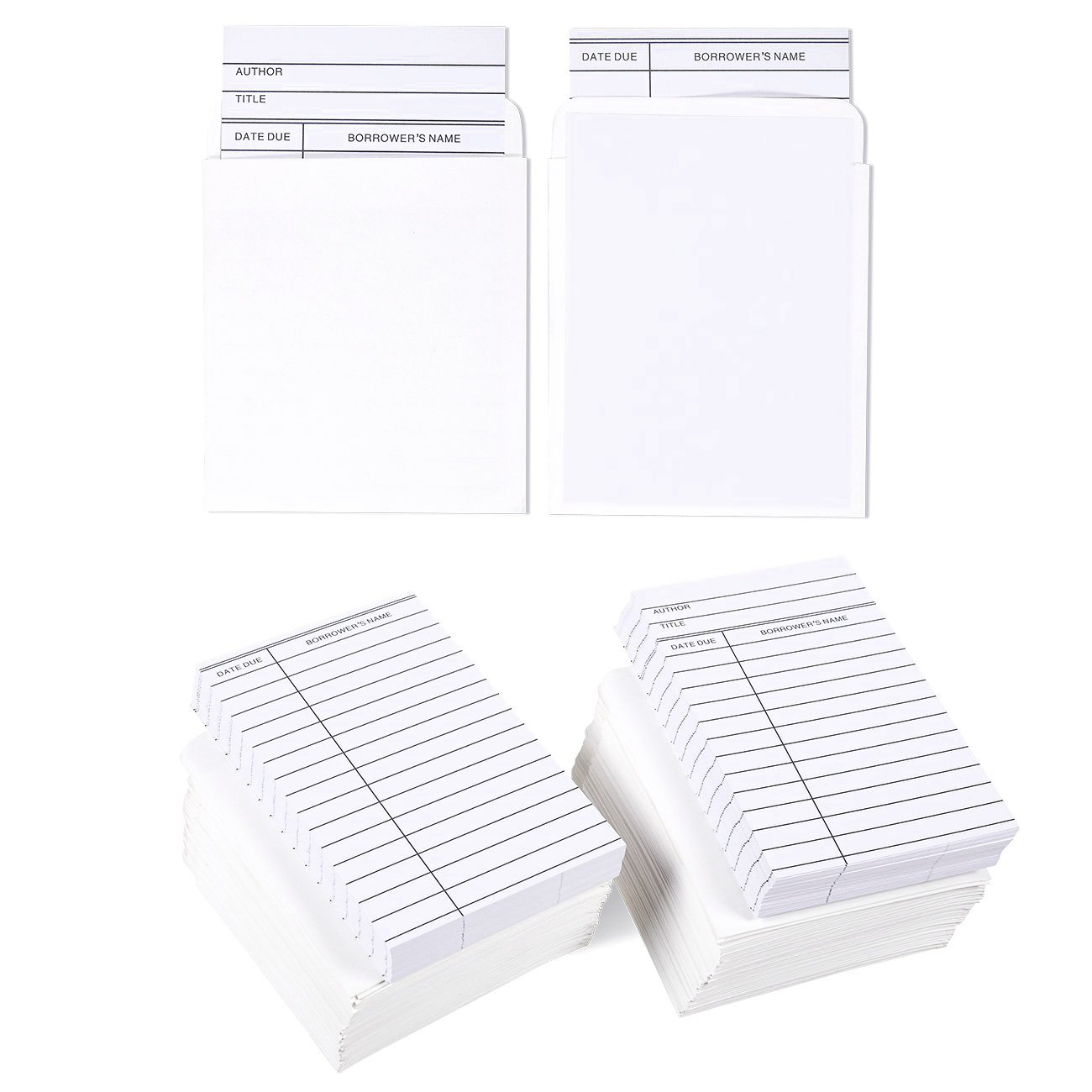 Best Paper Greetings Set of 100 Library Cards and Book Pockets - Library Pockets, Library Card Holder, Book Cards for Public Library Record Keeping, Tracking, Book Borrowing, White