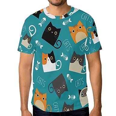 Camiseta para Hombre Niños Gatos Fish Bone Manga Corta ...