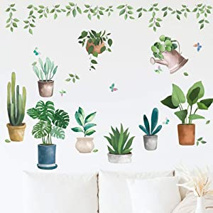 Green Potted Plant Wall Decal, TANOKY Nature Green Plants Wall Sticker, Bonsai Flower Cactus DIY Mural Art Decoration for Living Room Bedroom Kitchen Nursery Home - Safe on Walls & Easy Peel