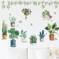 Pegatinas de Pared Planta, Etiqueta de la Pared Planta en Maceta Vinilos Decorativas pared de Sala de Estar de…