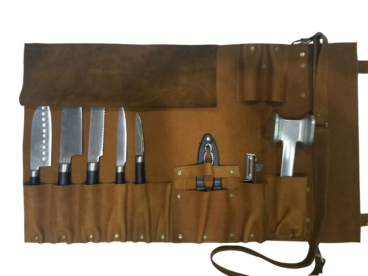Professional Chef Lightweight Genuine Premium Vintage Tan Leather 8 Pockets Chef Knife Bag/Chef Knife Roll