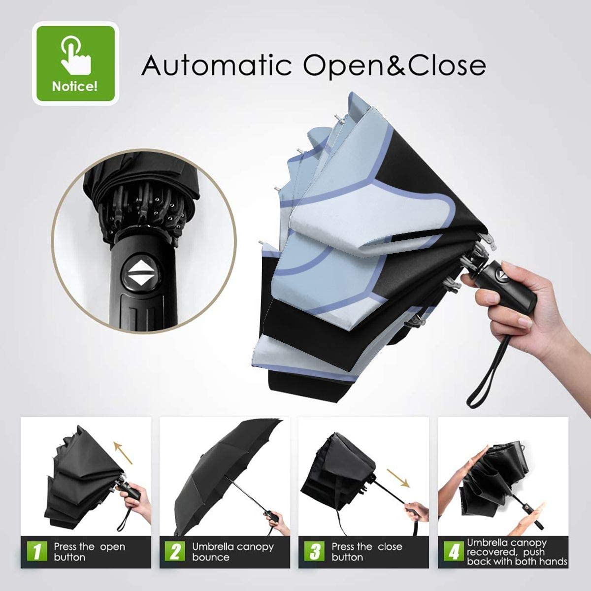 Cute Snail Automatic Tri-Fold Umbrella Parasol Sun Umbrella Sunshade