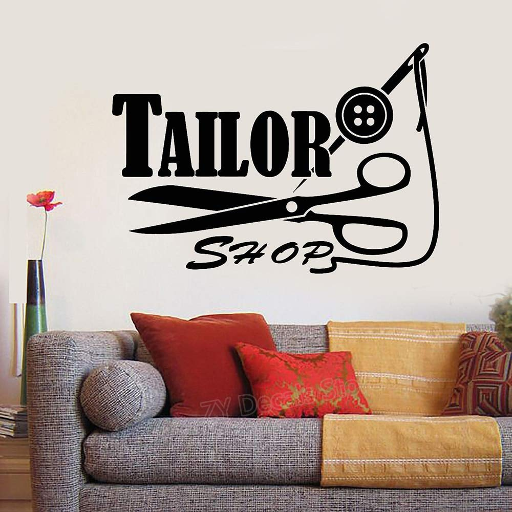 Buy Generic Tailor Shop Logo Sign Decal Wall Sticker Threads Needle Scissors Stickers Home Wall Decor Murals Adesivoe De Parede Z893 28 Dark Gray Small Online At Low Prices In India Amazon In