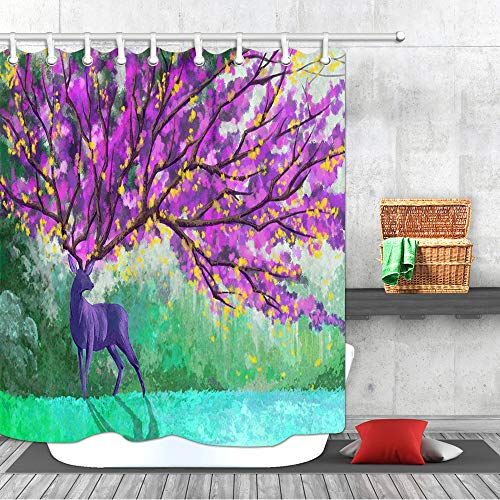 Wild Animals Polyester Shower Curtain - JAWO Deer Decor Shower Curtain Set, Deer Painting with Purple Flower Antler North American Wild Animal Woodland Mystic Forest Fairy Decor Waterproof Fabric Polyester Bathroom Curtain
