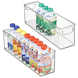 "mDesign Kitchen Refrigerator Cabinet or Pantry Baby Food Storage Organizer Bin with Handles for Breast Milk, Pouches, Jars, Bottles, Formula, Juice Boxes - BPA Free, 16"" x 4"" x 5"" - 2 Pack - Clear"