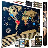 Amazing Scratch Off World Map Ultimate Pack / 4 Xtra Tools + 3 eBooks / Top Quality Deluxe Large 32x24 International Atlas World Map Poster / US States Outlined / Travel Office Décor and Unique Gift