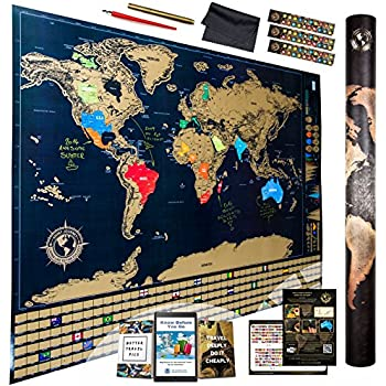 Amazing Scratch Off World Map Ultimate Pack / 4 Xtra Tools + 3 E-Books / Top Quality Deluxe Large 32x24 International Atlas Wall Poster to Depict Places You Visited on the Globe / US States Outlined