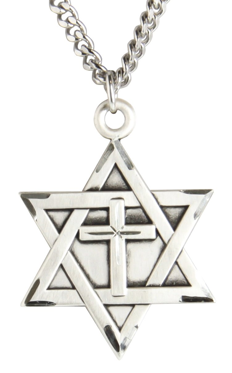 Mens Sterling Silver Star of David with Cross + 24 Inch Sterling Silver Chain & Clasp