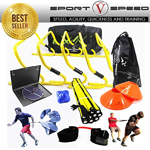 Agility Kit (NEW TEAM SPEED AGILITY & QUICKNESS Training Kit with Instructional DVD | High School & College | Football, Soccer, Basketball, Baseball, Supports All Sports | Hurdles, Ladder, Power Resistor, MORE!)