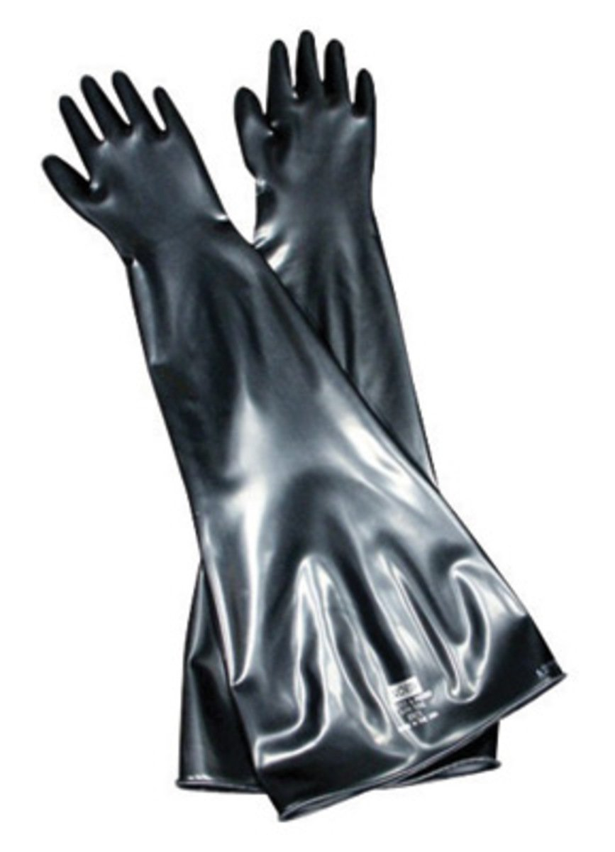 North by Honeywell Size 9 3/4 Black Glovebox 32'' 15 mil Butyl Hand Specific Chemical Resistant Gloves With 8'' Dia Beaded Cuff