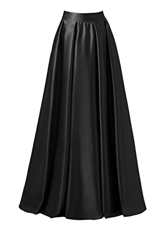 dacbbc2cce emondora Women High Waist Elastic Satin Flared Swing Maxi Skirt Pleat Prom  Gown Black Size S