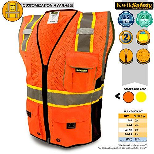 KwikSafety CLASSIC | Class 2 Safari Safety Vest | 360° Hi Viz Reflective ANSI Compliant Work Wear | Hi Vis Breathable Mesh Expandable Pockets | Men & Women Regular to Over Sized Fit | Orange L/XL (Orange Hi Visibility Vest)