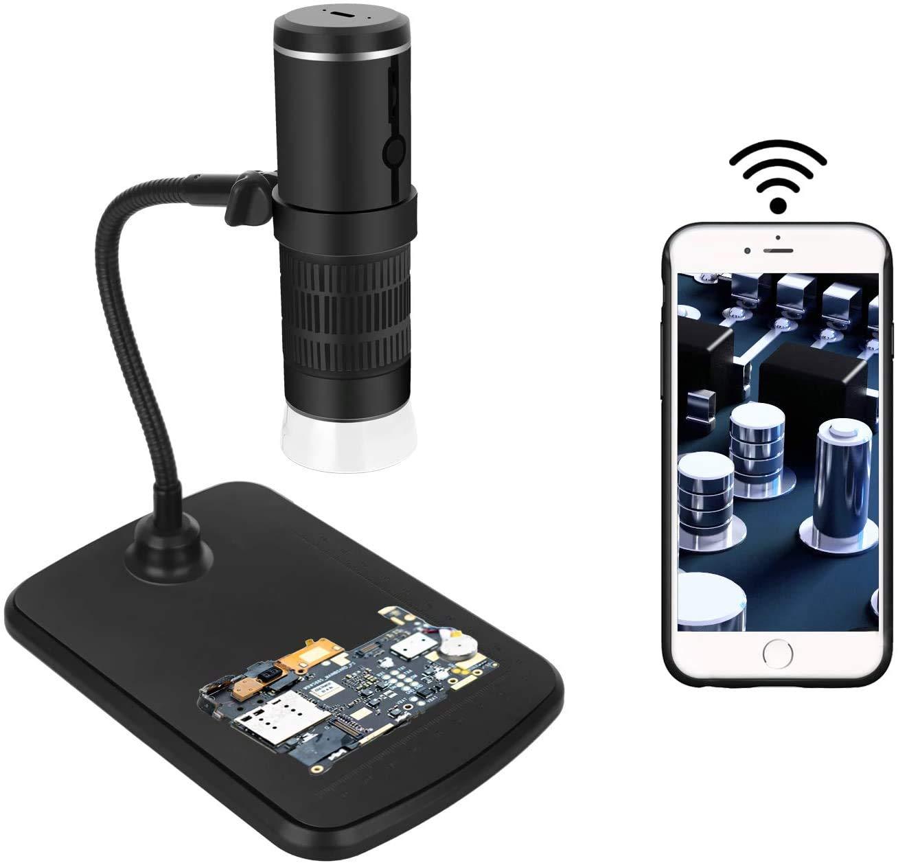 Drahtloses Digitales Mikroskop Wifi Mikroskop Kamera 50x Und 1000x Zoom 1080p Mit Professionellem Hubständer Taschenmikroskop Mit 8 Led Licht Kompatibel Für Ios Und Android Gewerbe Industrie Wissenschaft
