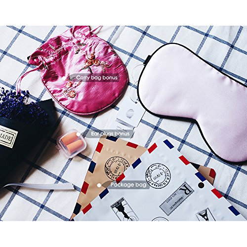 Pink Silk Sleep Mask Blindfold with Earplug & Bag for Women, Large Size Breathable Soft Lightweight Eye Sleep Mask with Adjustable Strap, Sleeping Mask Great for Deep ()