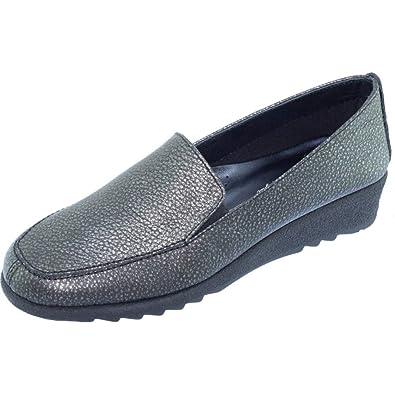 d52f60f7d09a2e Logo Mocassin Compensé Antidérapant Souple Flexible Confortable Chaussures  Large Femme Pieds Sensibles Marque Aéro Cuir Noir