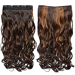 "REECHO 18"" 1-Pack 3/4 Full Head Curly Wavy Clips in on Synthetic Hair Extensions Hairpieces for Women 5 Clips 4.0 Oz per Piece - 4KH27"