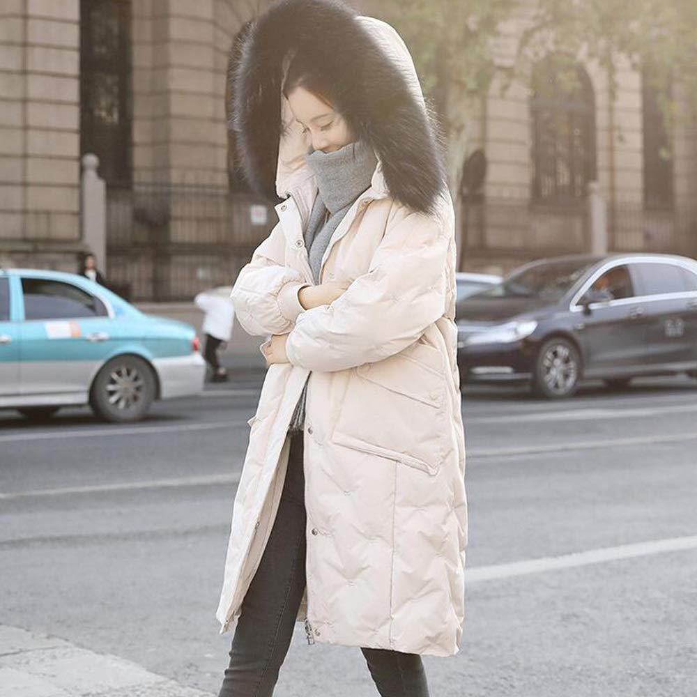 Beige Cotton Coat Fashion Ladies Long Warm Jacket Winter New Fur Collar Down Jacket (color   Pink, Size   S)