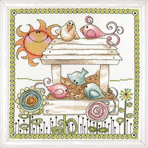 Tobin 2915 14 Count Bird Feeder Counted Cross Stitch Kit, 10