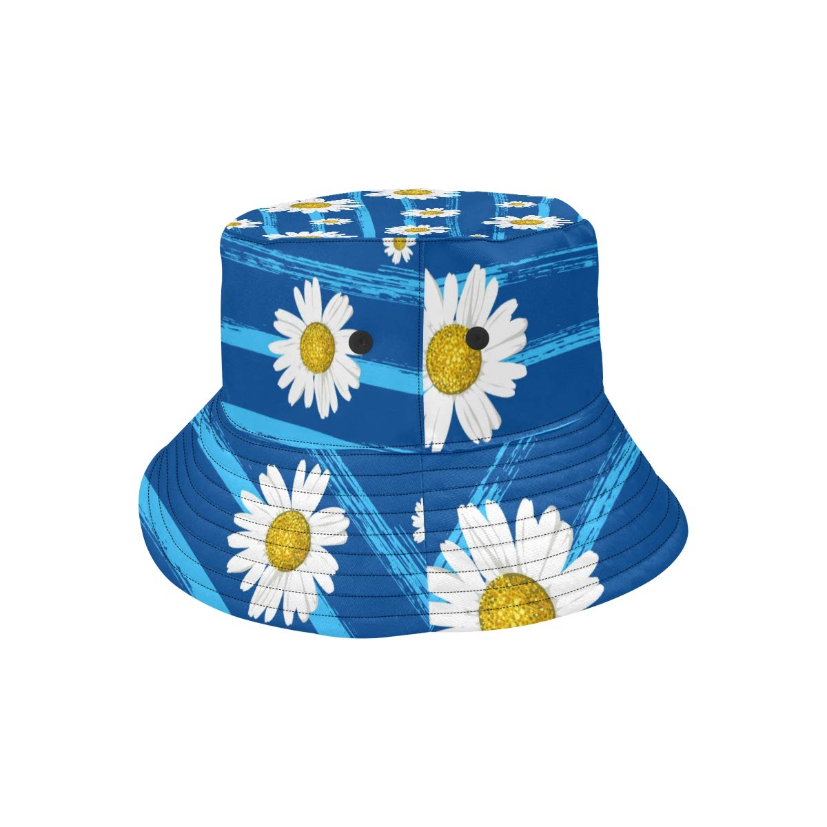 Floral Golden White Yellow Love Daisy New Summer Unisex Cotton Fashion Fishing Sun Bucket Hats for Kid Teens Women and Men with Customize Top Packable Fisherman Cap for Outdoor Travel