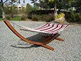 Petra Leisure 14 Ft. Teak Wooden Arc Hammock Stand + Deluxe Quilted Elegant Red Stripe, Double Padded Hammock Bed w/Pillow. 2 Person Bed. 450 LB Capacity