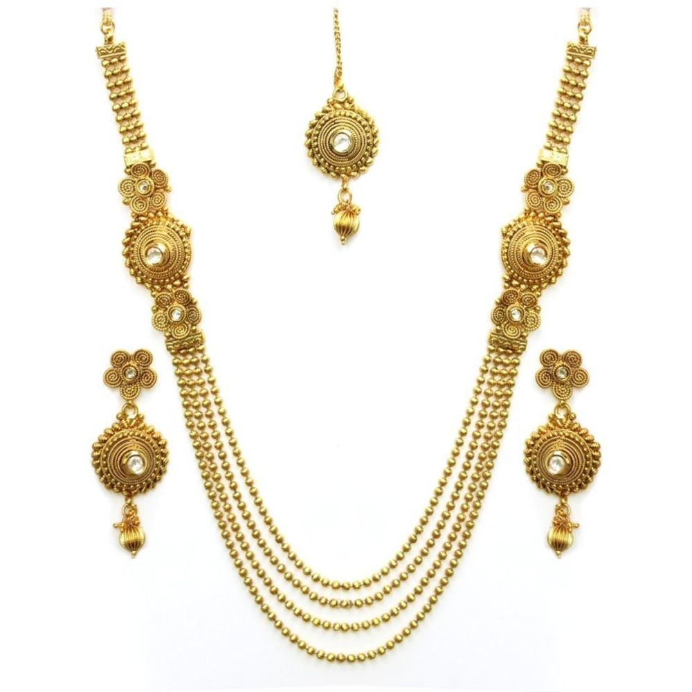 YouBella Jewellery Gold Plated Traditional Indian Temple Kundan Necklace Set with Earrings for Women