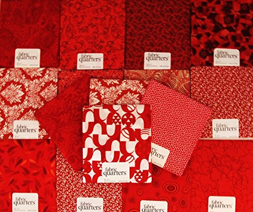 Set of 4 100 % COTTON FAT QUARTERS ~ RED ~ Quilt Fabric ~ CRAFTS ~ SEWING … (Fq Quilt Fabric)