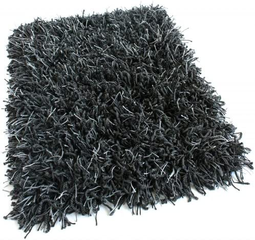 Koeckritz 12 x14 Black Marble Shaggy Indoor Area Rug – Shaggy Carpet with Premium Bound Polyester Edges.