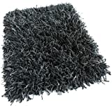 Round 3′ Black Marble Shaggy Indoor Area Rug – Shaggy carpet with Premium BOUND Polyester Edges.