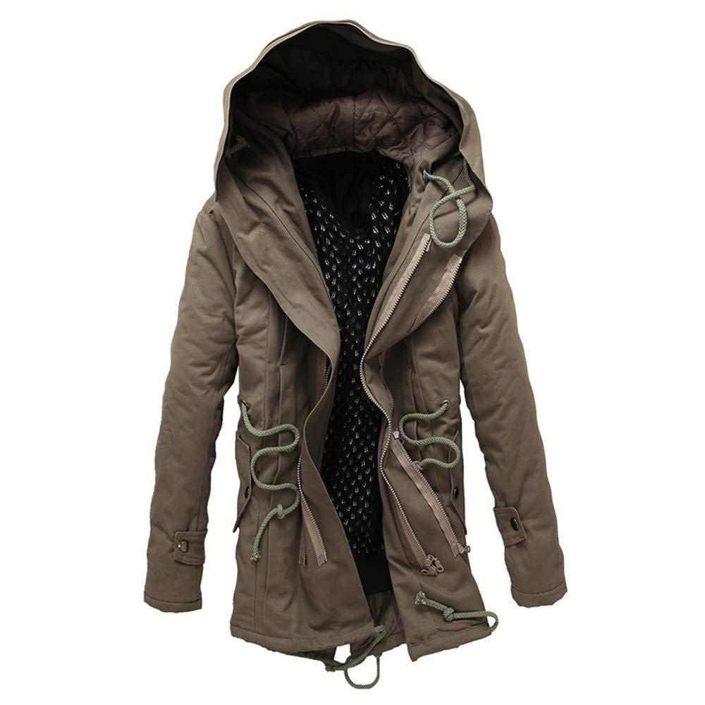 Men Winter Warm Hooded Zip Thick Solid Fleece Coat Outwear Wind Jacket Pandaie-Mens Product Work Wear for Men Winter