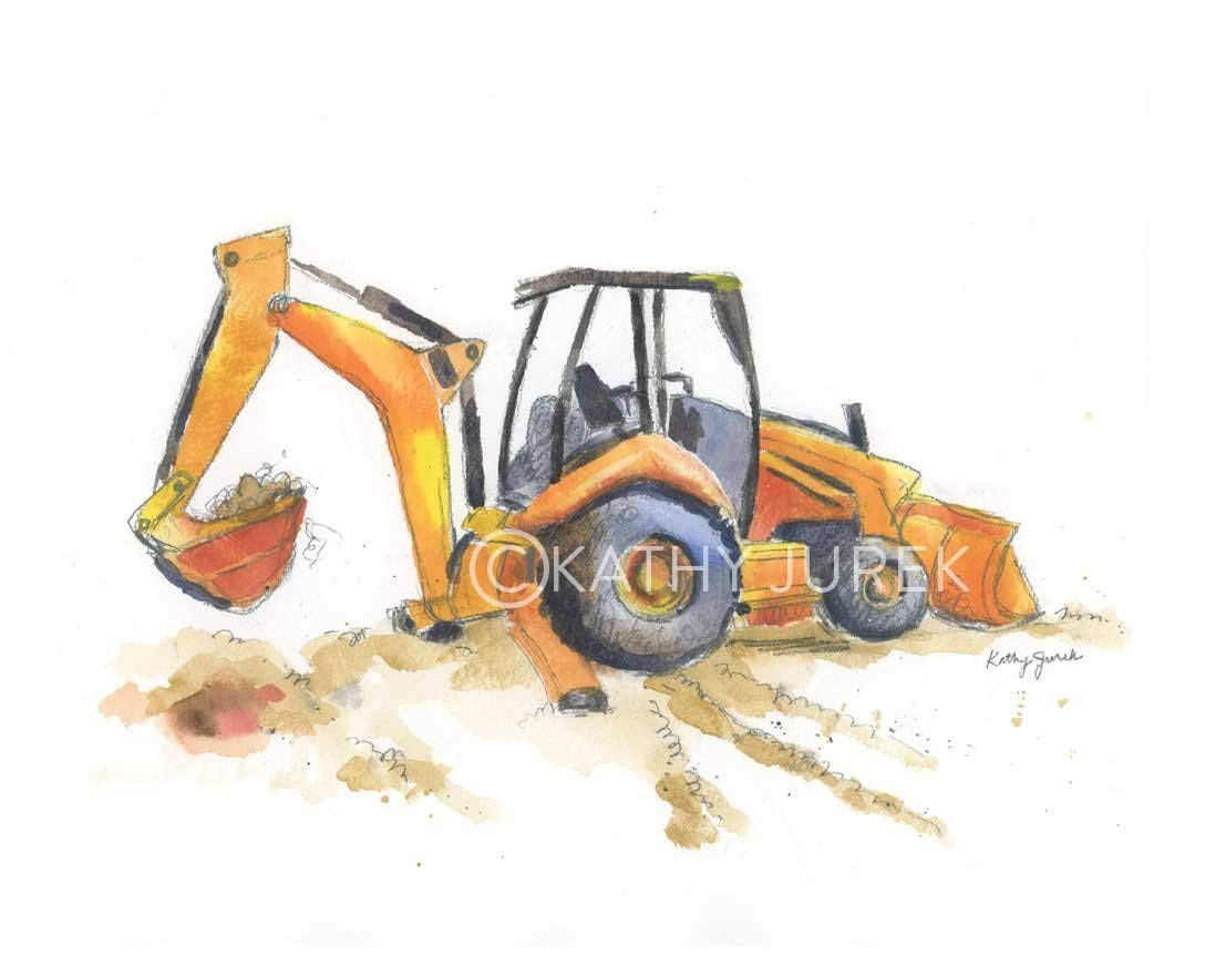 Nursery Wall Decor | Yellow Construction, Excavator Truck Wall Art Print for Kids Room | 8.5 x 11 Inch Gallery Quality Fine Art Giclée Print by Little Splashes of Color