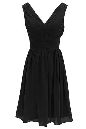 Jay&Joy Women's V-Neck Short Bridesmaid Dress Simple Pleated Chiffon Dress  Black us 2X