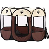 Bestmemories Anti-Bite Pet Playpen, 8-Side Mesh Puppy Dog Cat Rabbit Exercise Kennel Crates Playpen, Portable, Foldable, Waterproof Playpen with Zipper Door for Traveling Camping Outdoor Indoor