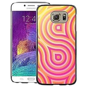 A-type Arte & diseño plástico duro Fundas Cover Cubre Hard Case Cover para Samsung Galaxy S6 (Pink Yellow Lines Pattern Swirl Sun)