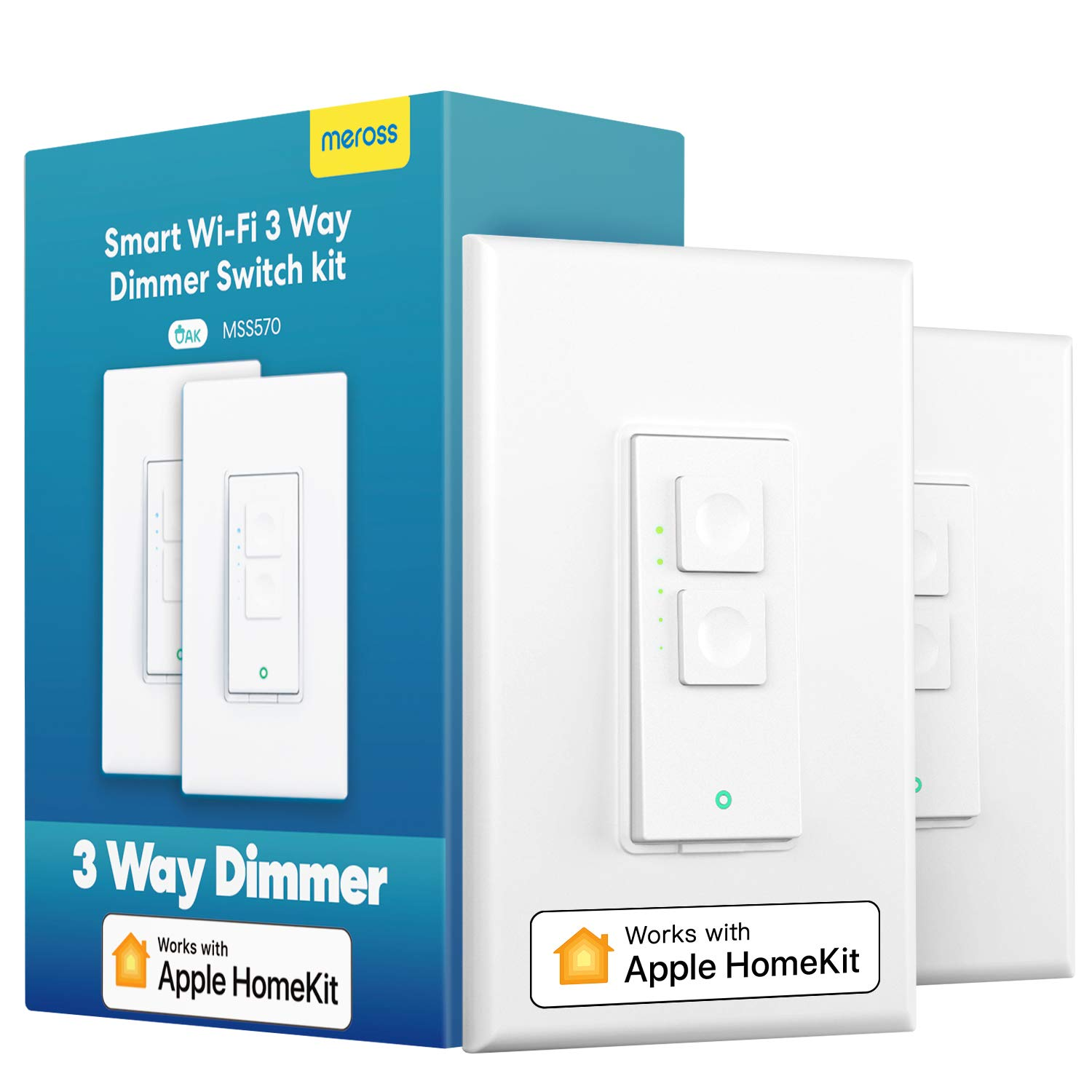 3 Way Smart dimmer Switch Kit, Meross Smart Light Switch Supports Apple HomeKit, Siri, Alexa, Google Assistant & SmartThings, 2.4GHz Wi-Fi Light Switch, Neutral Wire Required, Remote Control Schedule
