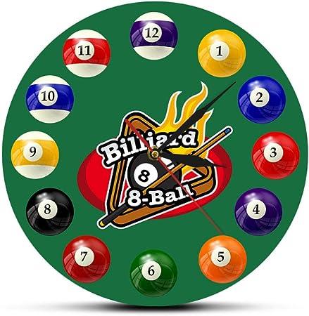 Biubiubiubiu Billar Mesa de Billar 8-Ball Reloj de Pared Moderno Pool Snooker Sports Print Reloj de acrílico Jugadores de Billar Home Wall Decal Klock GZ-4300: Amazon.es: Hogar