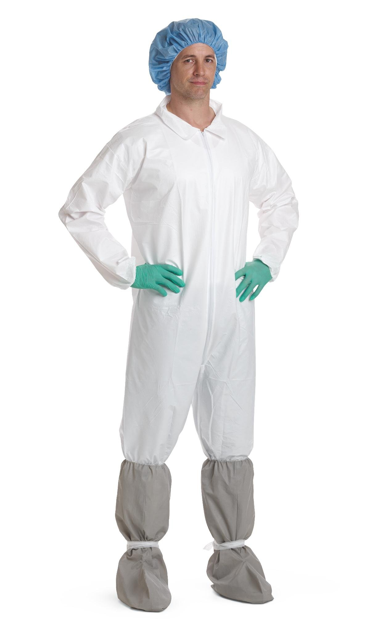 Medline NONCV940M Static-Dissipative Microporous Breathable Coveralls, Elastic Wrist/Ankle, Medium, White (Pack of 25)