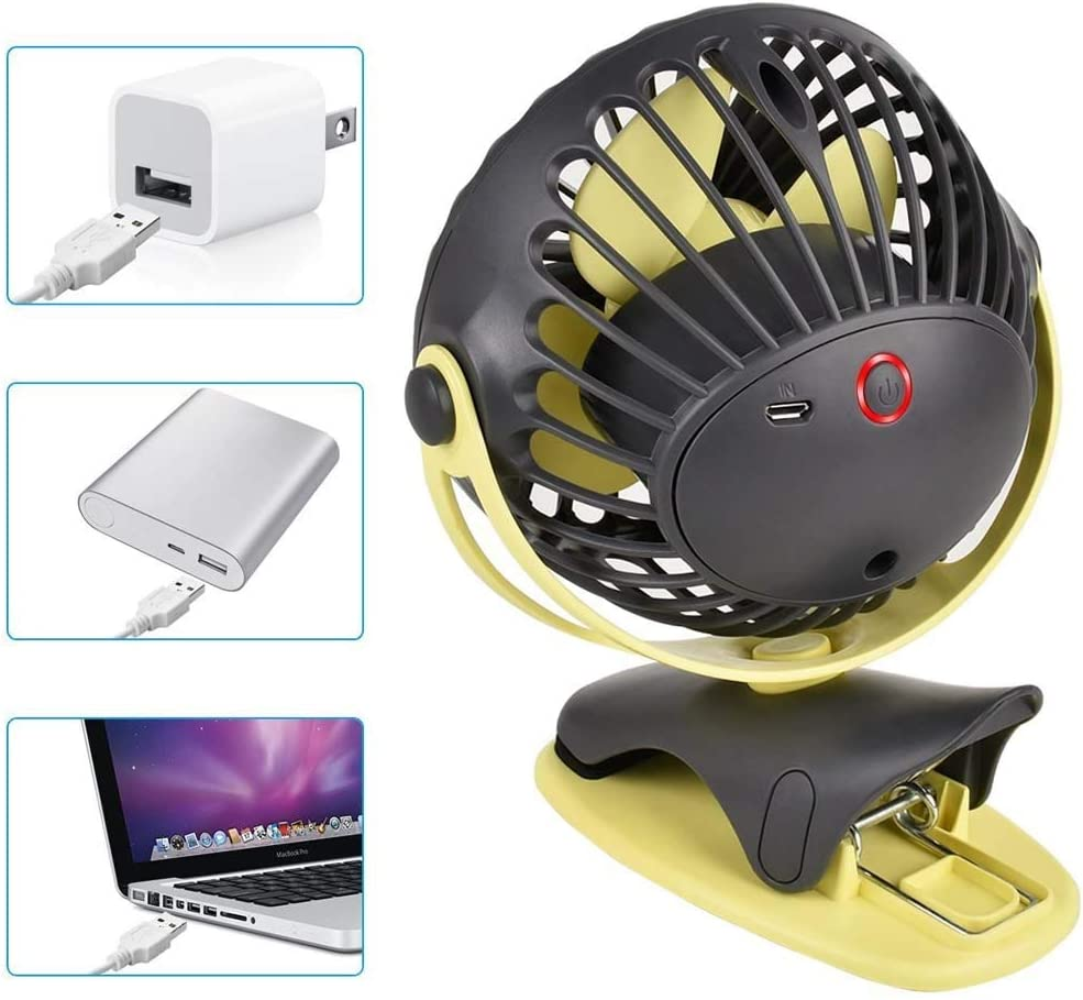Desk USB Fan with Clip Table Mini Portable Personal Fans Quiet 4000mAh Rechargeable Baterry for Home Office School Camping Travel Color : Gray