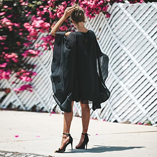Clearance! Mini Dress,Showking Women's Batwing Sleeve Solid Chiffon Cloak Cape Dress (XL) by Showking_women Dress (Image #5)