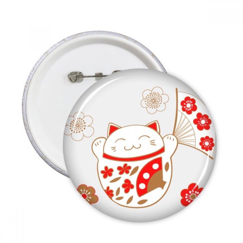 Fat Lucky Fortune Katze Flower Fan Japan Kultur rund Pins Badge Button Kleidung Dekoration Geschenk 5/X S
