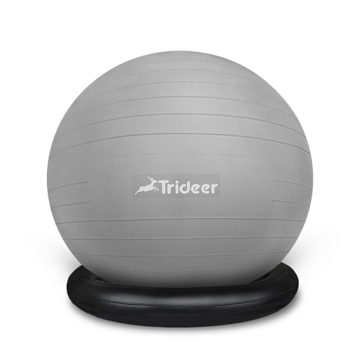 Trideer Exercise Ball Chair, Stability Ball with Ring & Pump, Flexible Seating, Improves Balance, Core Strength & Posture (Office & Home & Classroom) (Ball with Ring (Silver), 65cm)