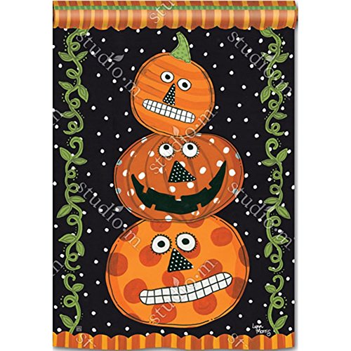 Studio M BreezeArt Pumpkin Faces Decorative Standard House Flag Banner - Premium Quality, 28 x 40 Inches ()