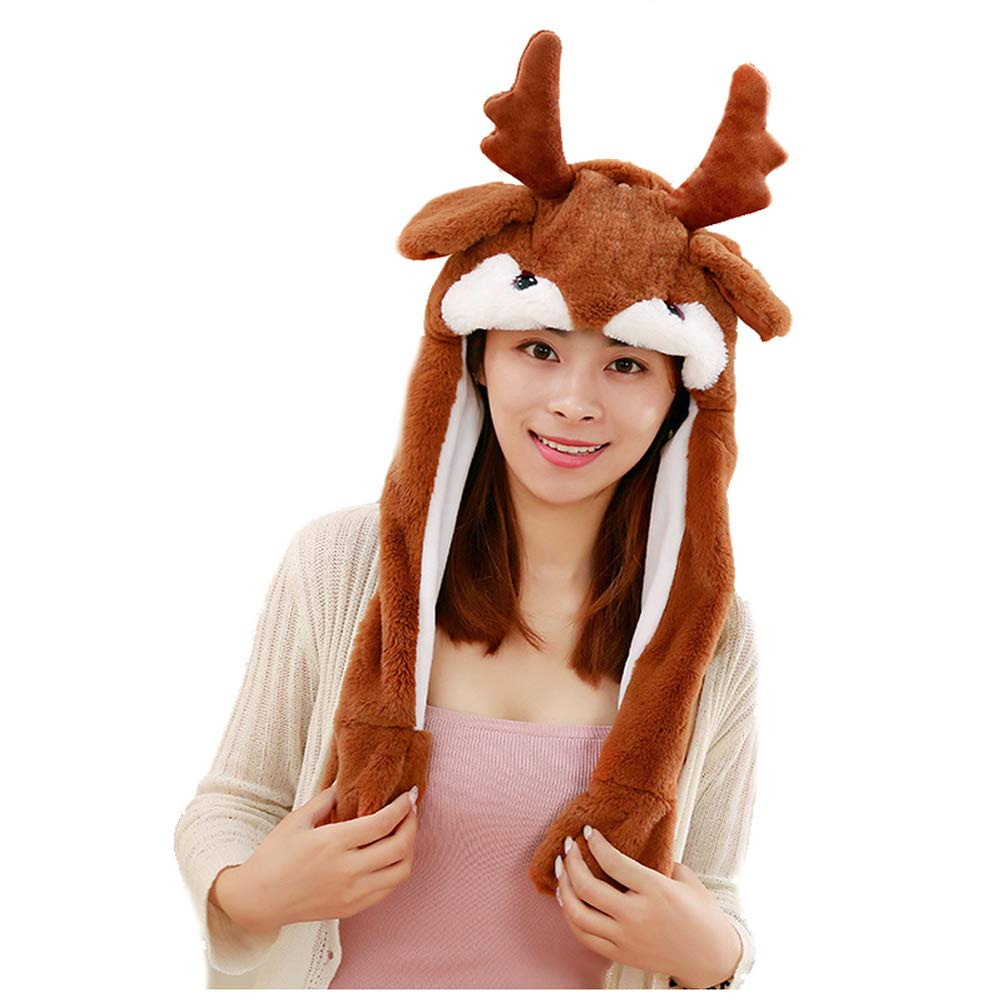 Unisex Moving ear ears will move the Christmas deer hat hood gift photo photo props airbag hat