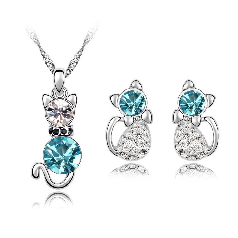 ZiZi Aquamarine Crystal Cat Earrings & Necklace Set ~ 18K White Gold Plated Austrian Crystal ~ ZiZi Gift Box