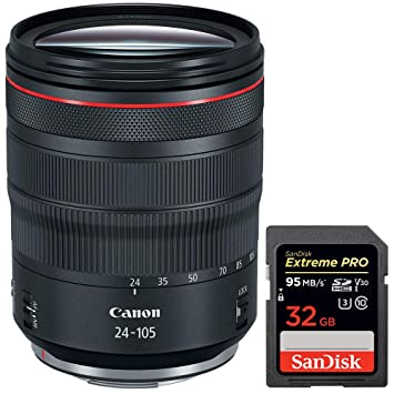 Canon RF 24-105 mm F4 L is USM Lens (2963C002) with Sandisk ...
