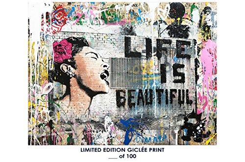 RARE POSTER graffiti MR. BRAINWASH life is beautiful 2017 REPRINT giclee #'d/100!! - Mr Brainwash Art