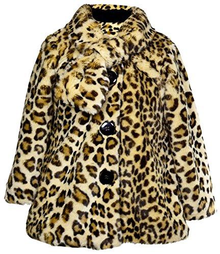 Widgeon Little Girls' Button Front Faux Fur Coat, Amur Leopard, 4T -