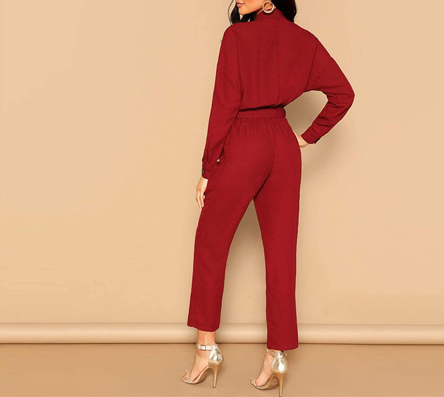 The small cat Elegant Long Sleeve Stand Collar Jumpsuits Women Autumn Highstreet Jumpsuit,Burgundy,XS