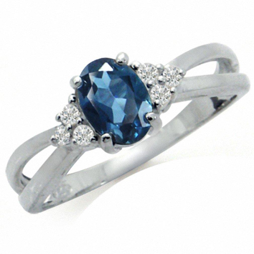 Silvershake Genuine London Blue Topaz 925 Sterling Silver Engagement Ring Size 6