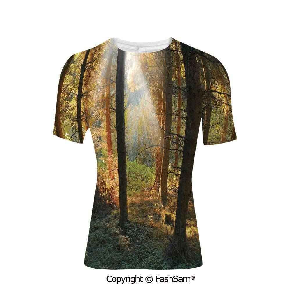 Fashion Printed T-Shirts Sunset View from a Tropical Island Beach with Silhouett