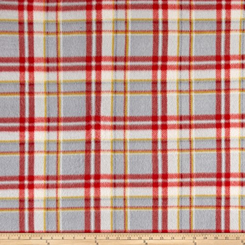Grey Polar Fleece (Polar Fleece Print Parson Plaid Black Red Grey Fabric By The Yard)